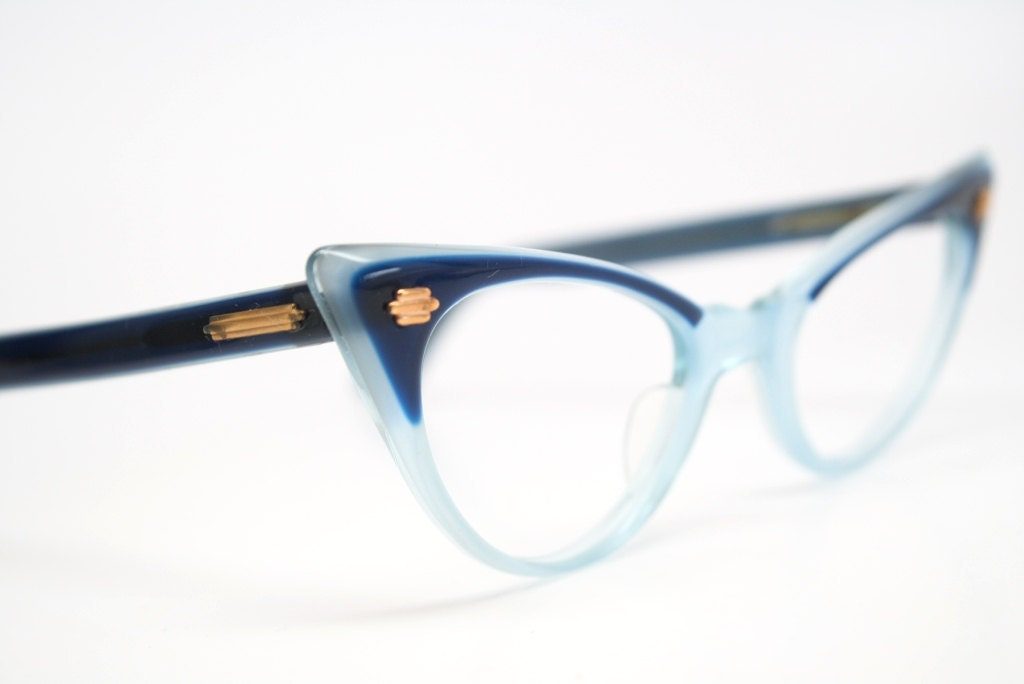 Blue cat eye glasses 2 tone vintage cateye eyeglasses