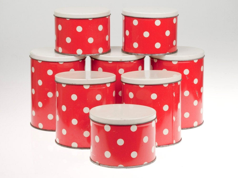 vintage red polka dot tin cans