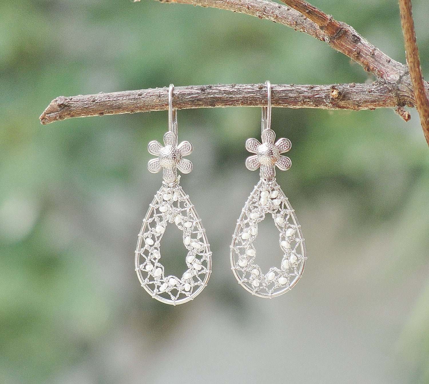Drops of Dreams - Needle Lace Earrings with Tiny Sweet Water Pearls - StaroftheEast