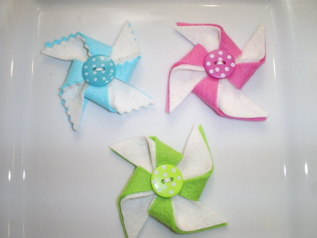 Adorable Set of 3 - Aqua, Lime and Bright PInk Felt Pinwheels With Button Center- Ready To Ship