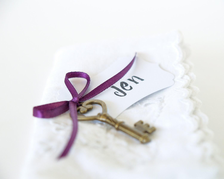 Wedding Place Cards, Vintage Key LIME GREEN, Table Escort Setting Seating Decoration PLUM Eggplant Purple Pastel - FairyfolkWeddings