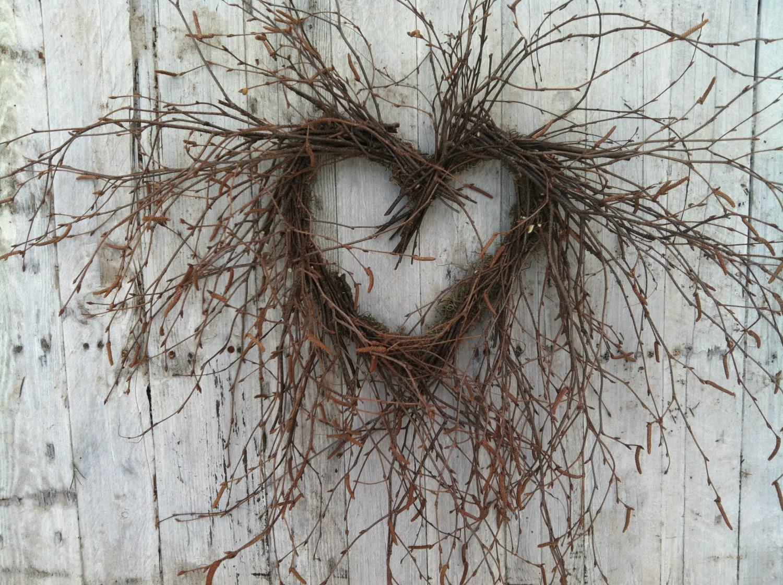Valentine Heart Wreath - Natural Birch Branch Wreath - marigoldsdesigns