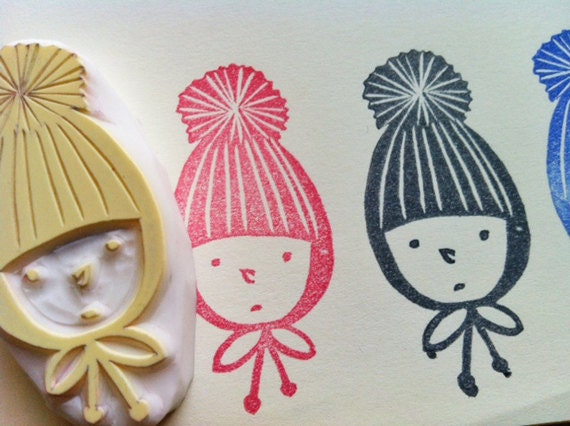 boy in a knitted hat. hand carved rubber stamp. child. handmade stamp.