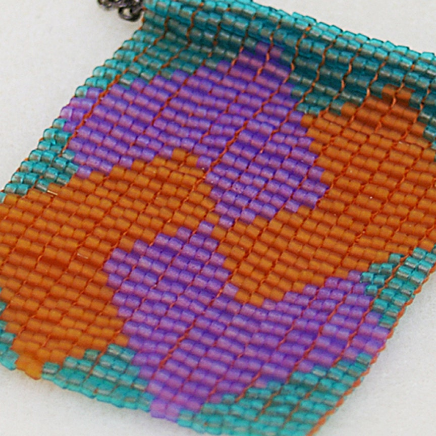 Card Trick Beaded Quilt Block Necklace - jess2bead