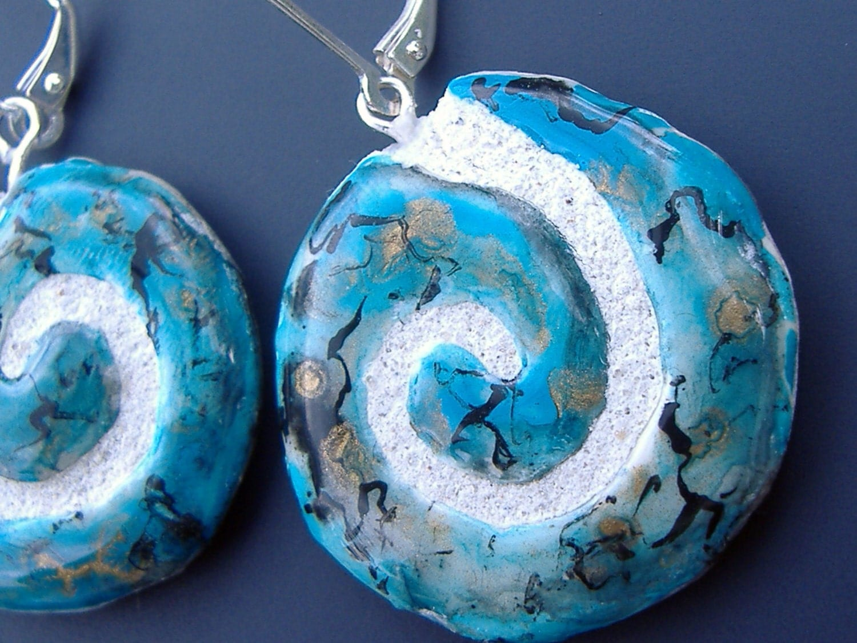 Turqoise and Fine Silver Mosaic Tile REVERSIBLE Earrings
