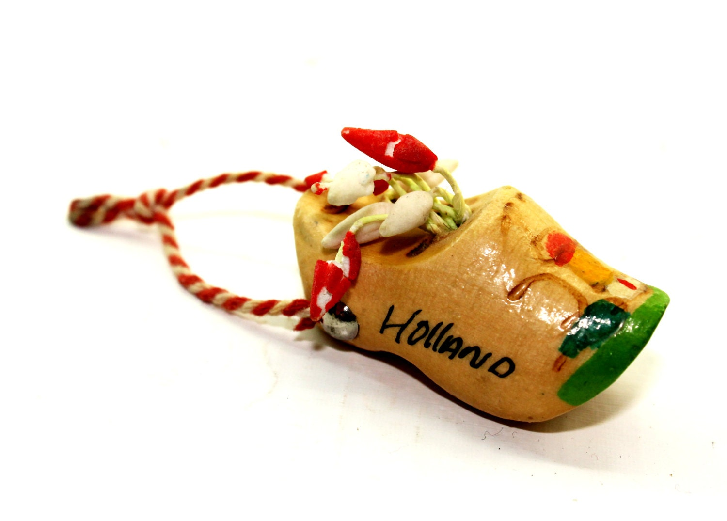 Miniature Wooden Clog - Souvenir of Holland - Wooden Clog with Tulips - HobartCollectables