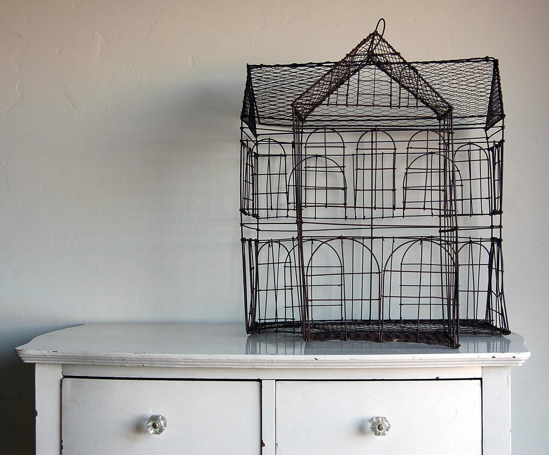 Primitive Colonial House Birdcage - BoldSparrowVintage