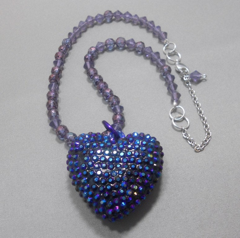 Crystal Embedded Large Blue Heart Pendant With Czech Glass Fire Polished Amethyst Beads