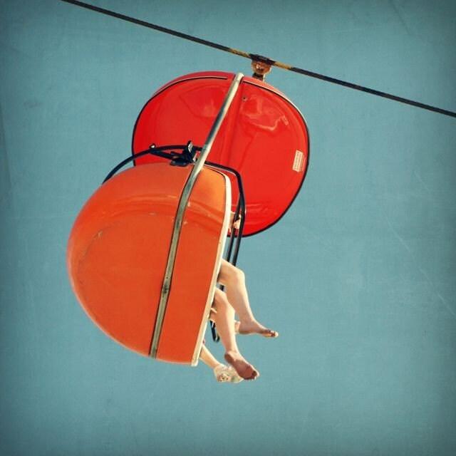 Mid century art, sixties carnival, santa cruz, orange, blue, midcentury, valentine, vintage, California - SkyGlider I, 5x5 photograph