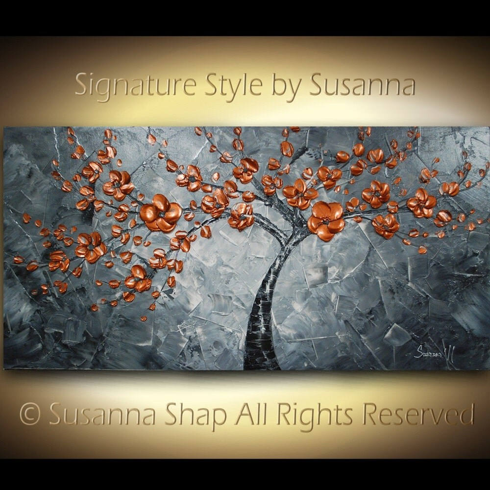 ORIGINAL Large Abstract  Copper Tree Painting Impasto Landscape Thick Textured Modern Palette Knife fine art by Susanna Ready to Hang 48x24