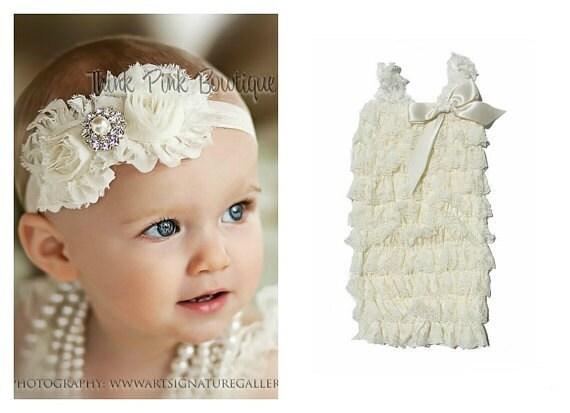 Ivory petti lace romper and headband SET, petti romper,baby headband, flower headband,vintage inspired headband and lace petti romper