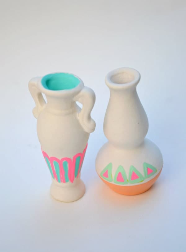 Miniature Neon Vase Set - Fluo, Fluorescent, Electric - Peach, Blue, Mint, White - Scallop, Triangles, Tribal Geometric, Boho, Curio Cabinet
