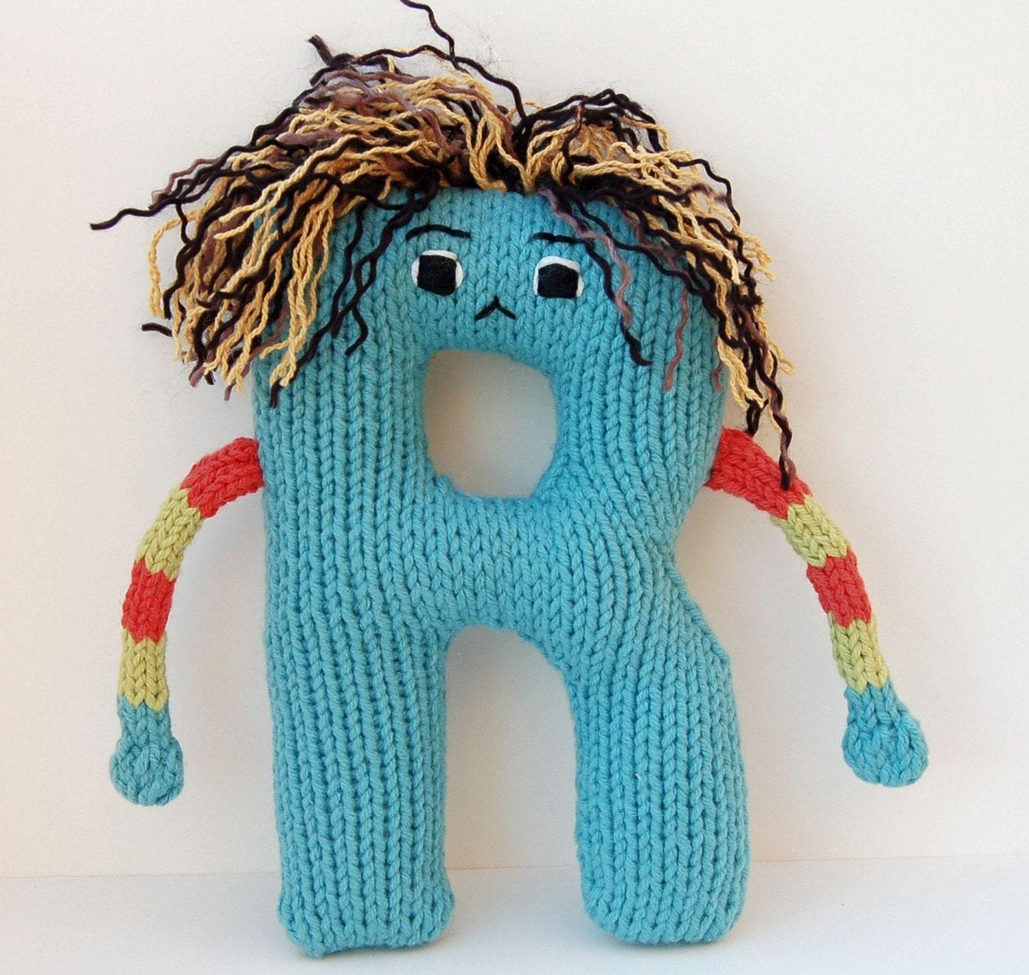 Letter R - Alphabet Stuffed Toy Knitting PATTERN - Rodney