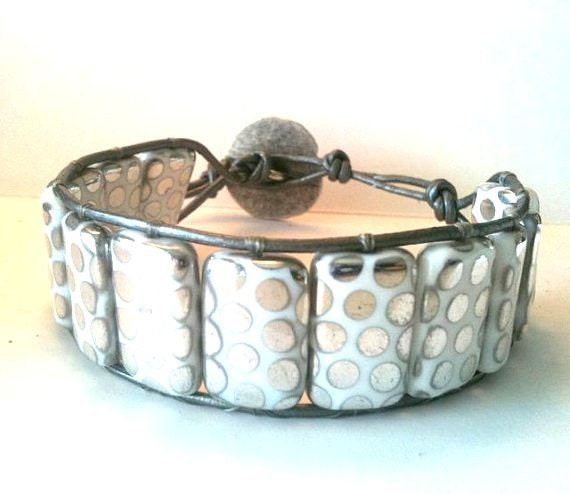 New Gorgeous Silver Shiny Holiday Candy Drop Leather Wrap Bracelet FREE SHIP USA