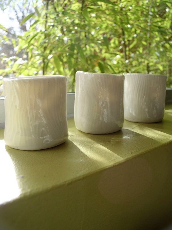 White poreclain candle votives with wood grain texture. made to order