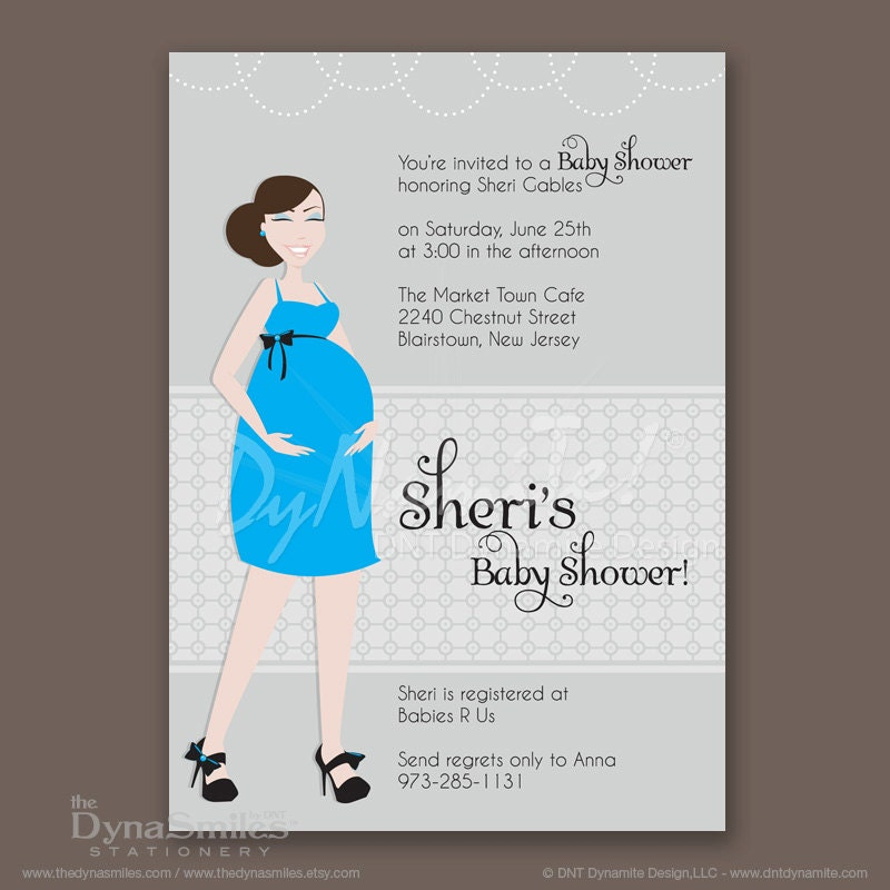 Pregnant Diva - Baby Shower Invitation - Bun or Pinned Ponytail Hair Style
