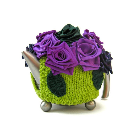 Cottage tea cosy knit teapot cozy flowers lime green chic cosie with purple and green sparkle ribbon roses - jarg0n