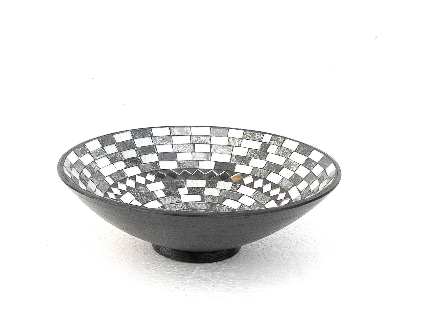 Black and white fruit bowl mosaic modern home decor classical contrast - SirliMosaic