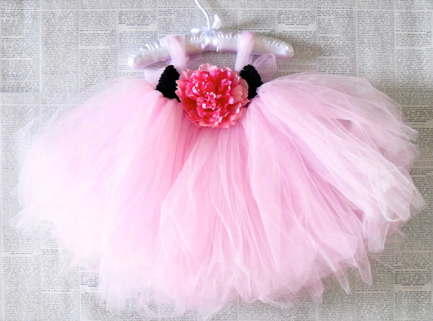 SUPER POOFY Pink tulle flower tutu - AveryandOliver