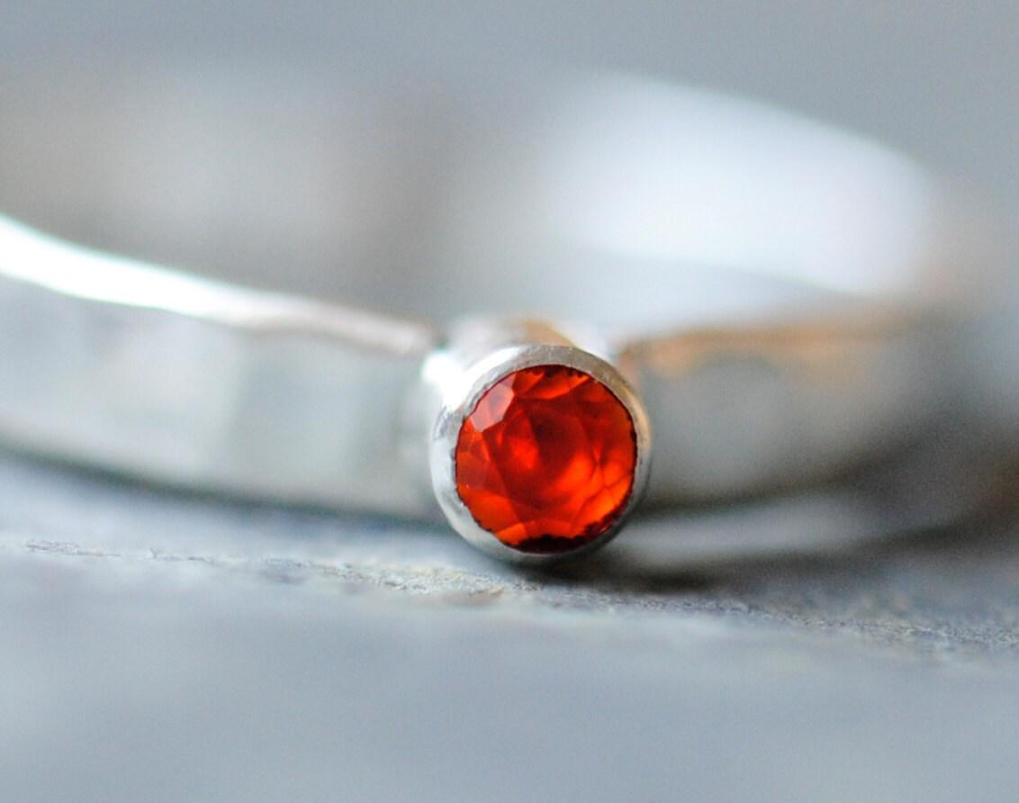 Mexican Fire Opal Sterling Silver Handmade Ring - DalkullanJewelry