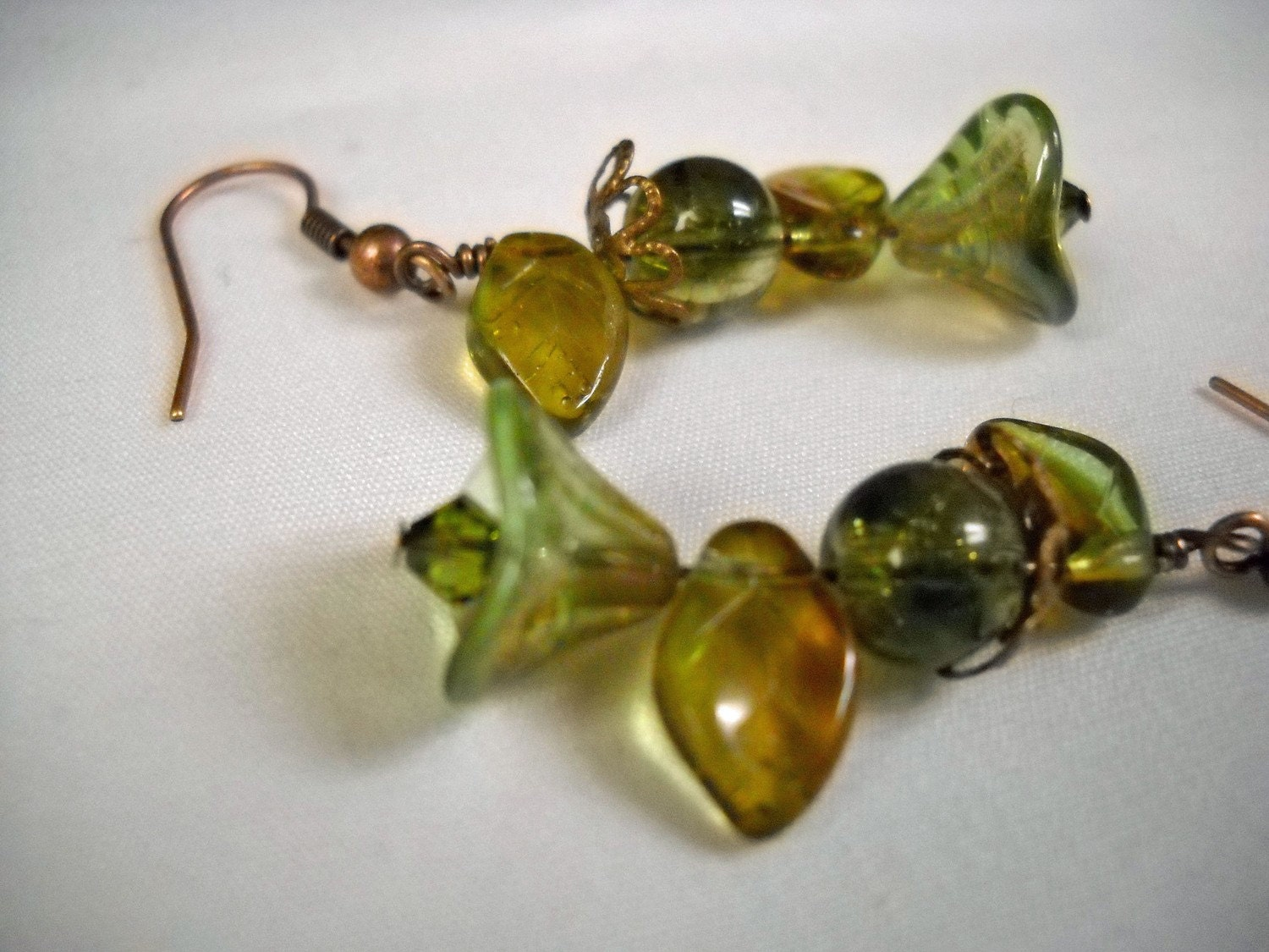 Dangle Earrings - Green and Brown Celsian Flower - pumpkinandsage