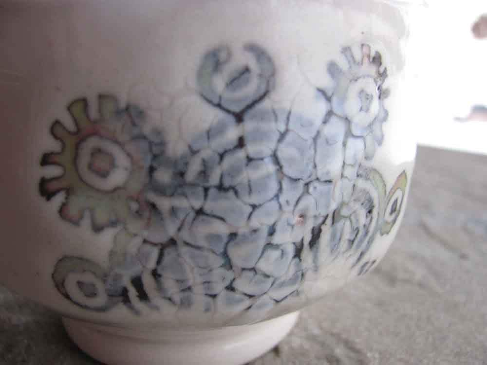 Tea Bowl or Salt Cellar in Pearl White, Ceramic Porcelain Stamped with Starburst
