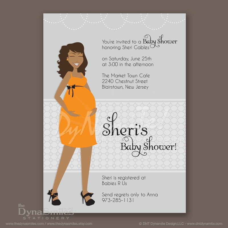 Pregnant Diva - Baby Shower Invitation - African American - Long Wavy Hair Style