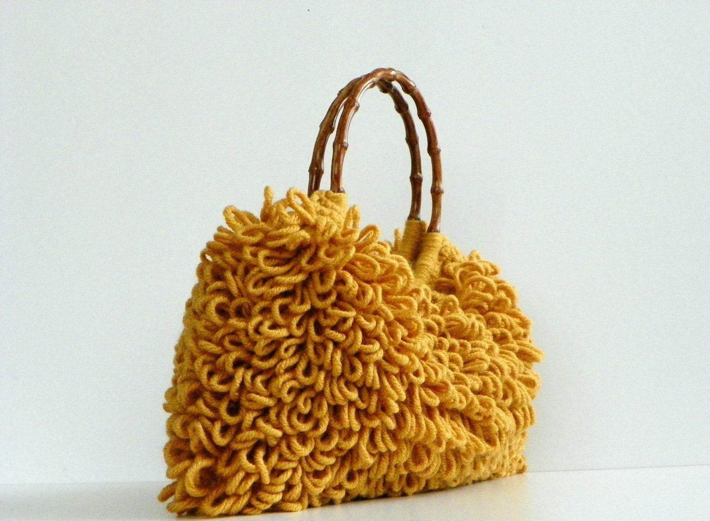 NzLbags ручной - Everyday Сумка - вязание крючком сумки Shaggy Nr Горчица - 0194