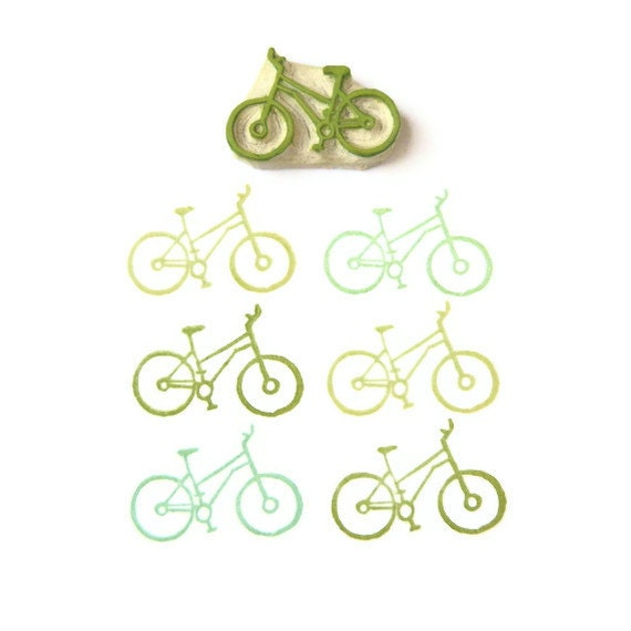 Cyclist's Bicycle Stamp - Rubber Stamp - Cling Rubber Stamp - creatiate
