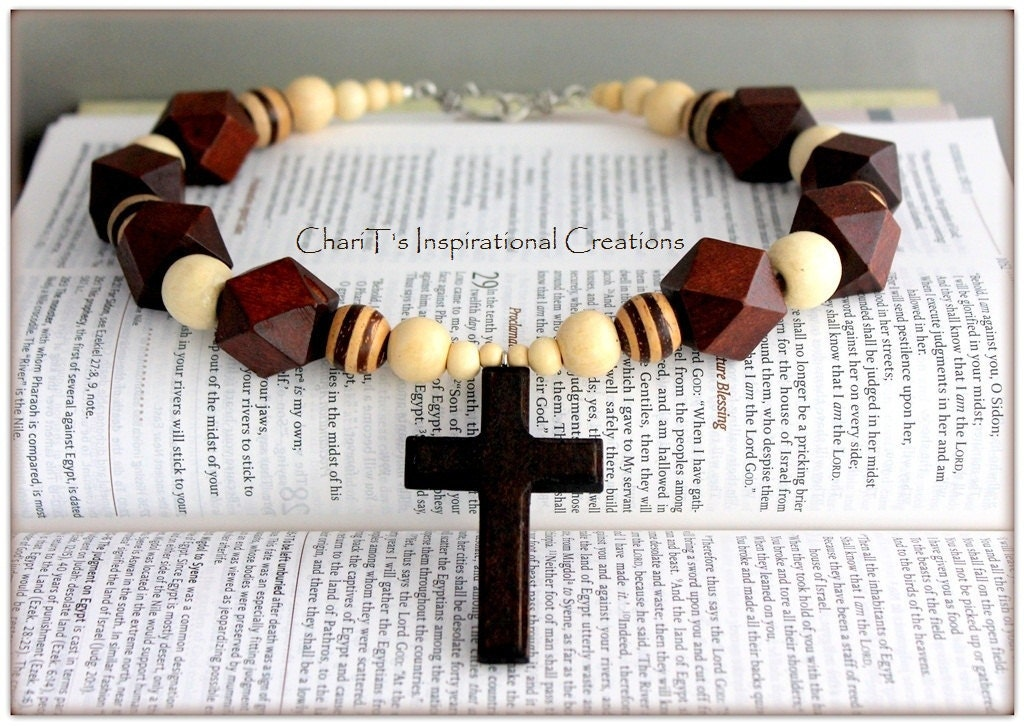 Fabulous Brown Wood beaded Religious Cross Statement Necklace