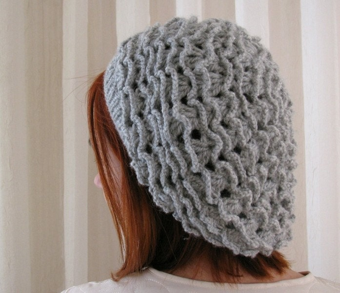 Light Gray Labyrinth Crochet Beret - KokoshKnitting