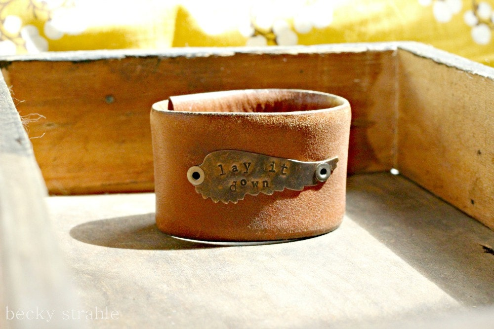 "brown leather ""lay it down"" cuff (custom made for KELLY)"