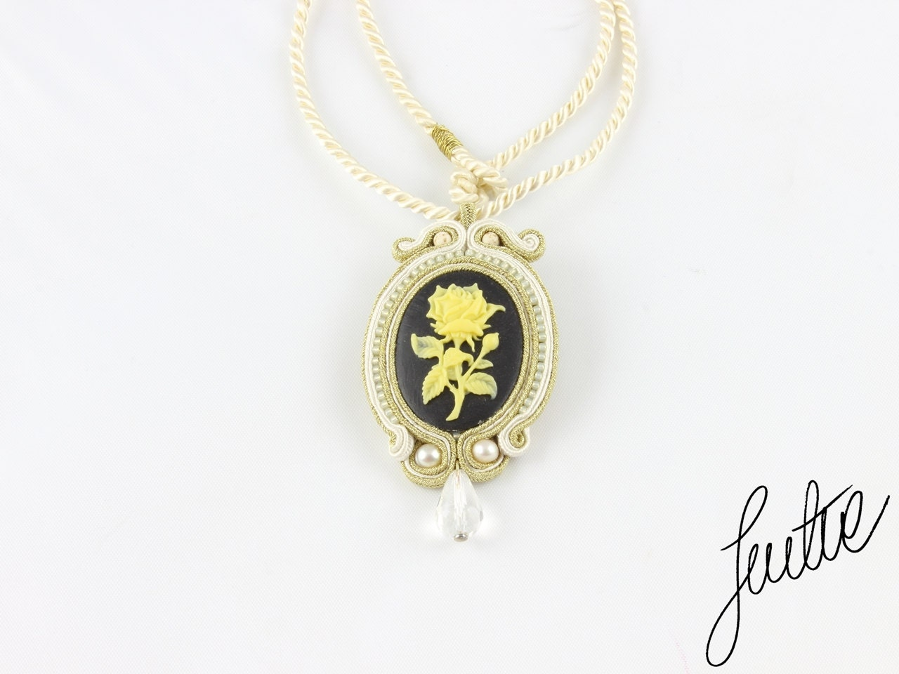 Elegant, gold, soutache pendant  with crystal, natural pearls and howlits - JustineWorld