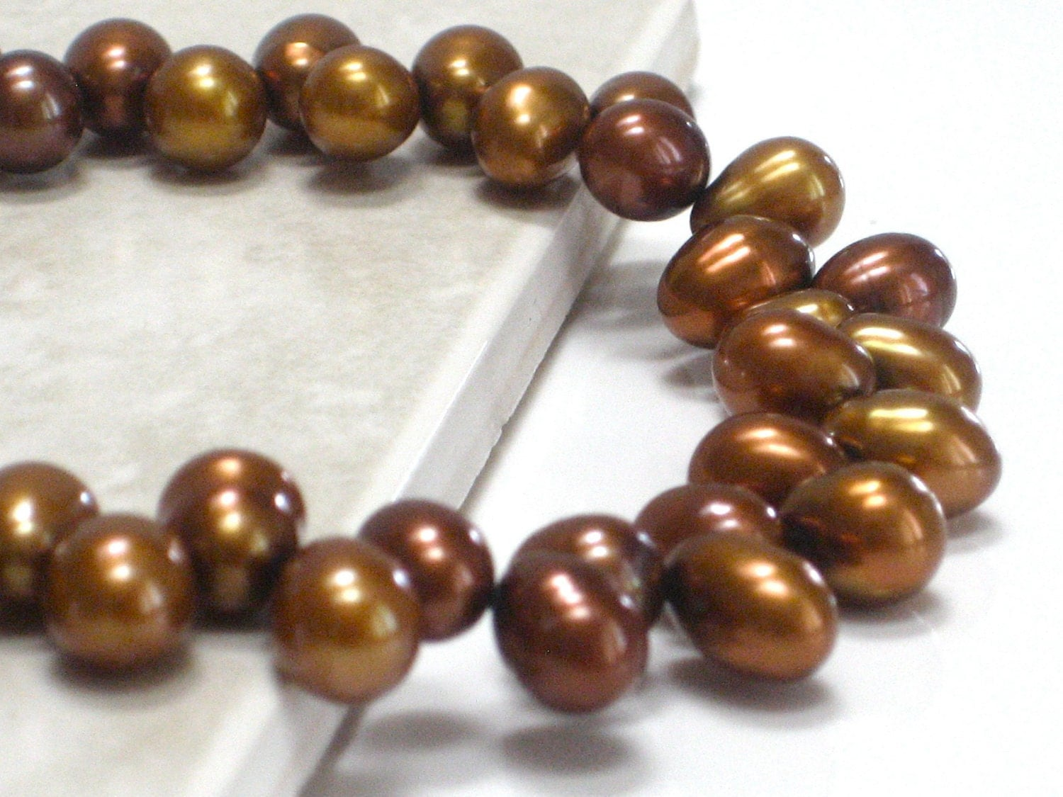 Brown Bracelet, Spice Pearls Nutmeg Bronze Metallic Pearls Chunky Bracelet Woodland Fashion- Early Harvest - CCARIA