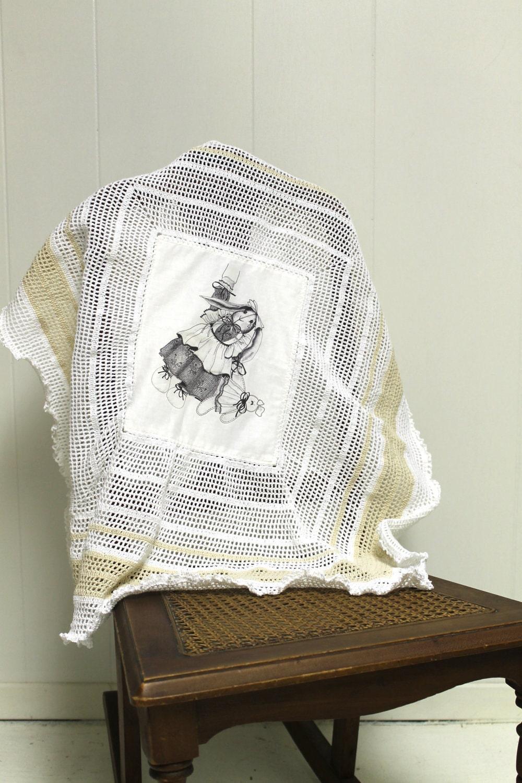 Вязание Детское реликвия одеяло ручной белый крем Иллюстрированный искусство железа на передачу изображений
