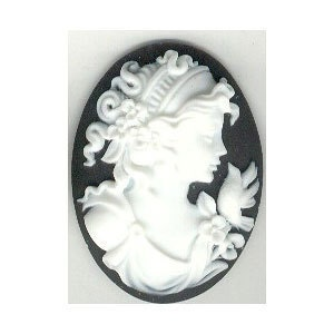 Resin cameo black and white 40x30mm lady&bird  item 155a - cameojewelrysupply