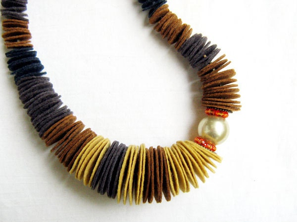 Found a Pearl Felt Necklace No4, in mustard yellow, brown and black, oversized pearl, Czech crystals - AlinaandT