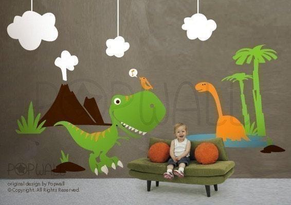 Dino land dinosaurs wall decal children kid wall decal by for Dinosaur wall decals for kids rooms