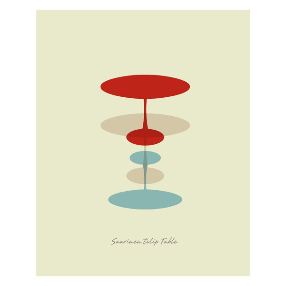 Saarinen Tulip Table Illustration. - MODERNIA