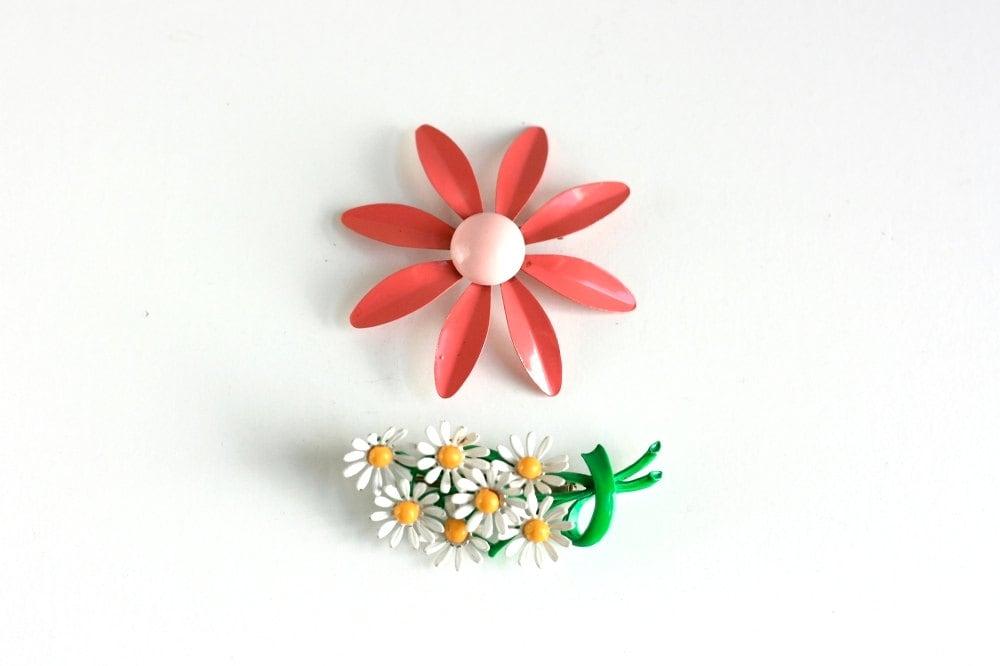 Pair of Vintage Enamel Flower Pins