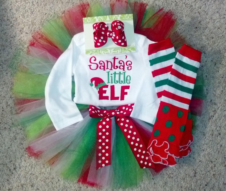 Custom Santas Little Elf Christmas Tutu Set