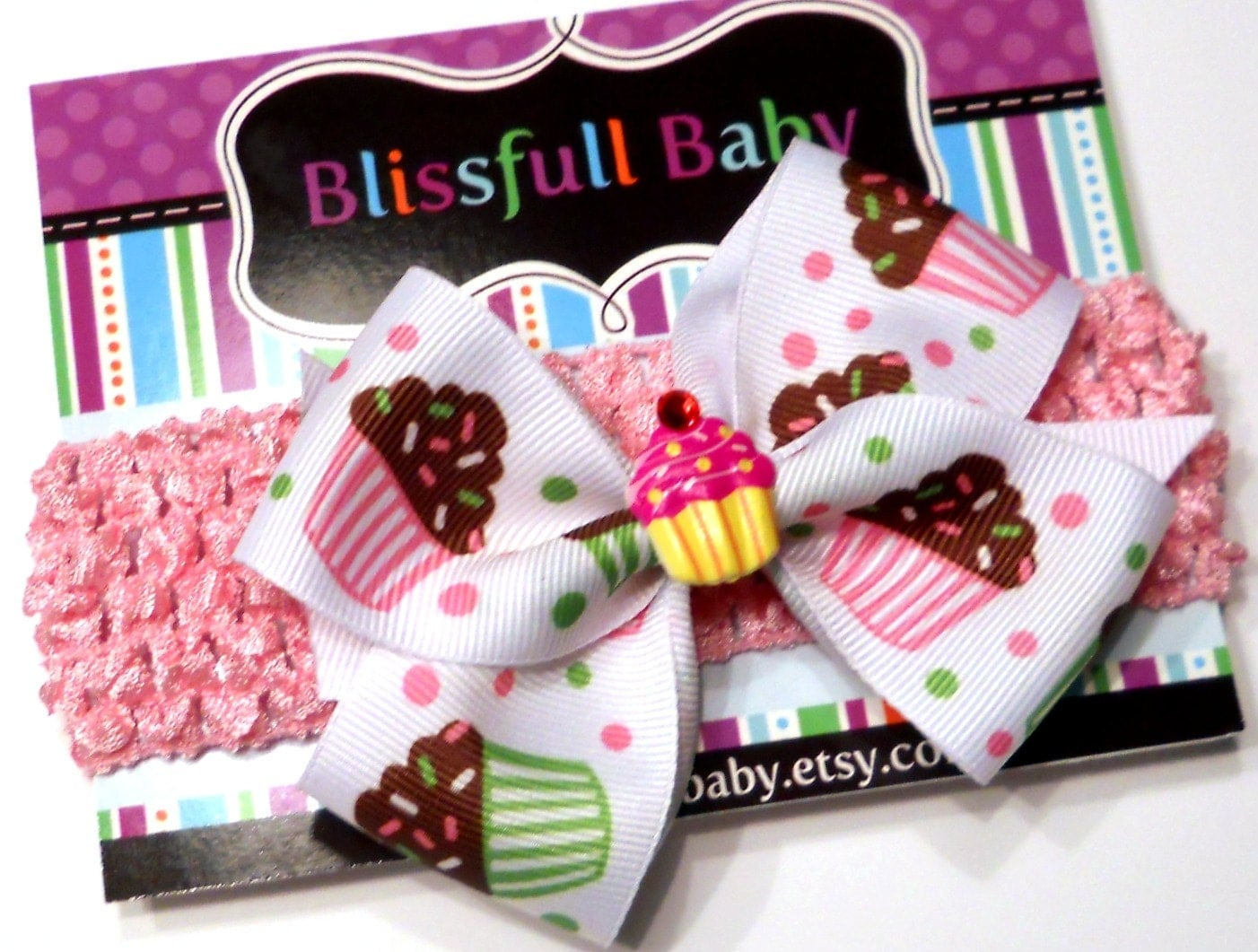Headband - Cupcake Hair Bow On Pink Chrochet Headband