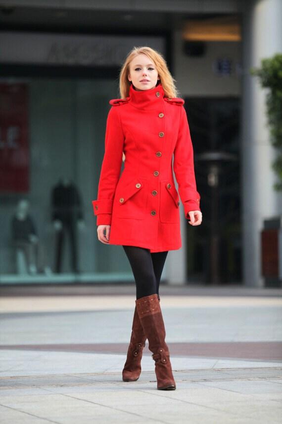 کت قرمز ترمه زمستان کت پشم نصب گاه به گاه زنان ژاکت کت بلند - NC258