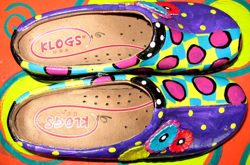 Hand painted leather Klog Shoe sizes 6 8 10