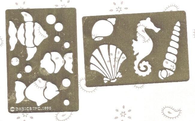 трафареты с 3 рыбками, 3 ракушками и морским коньком