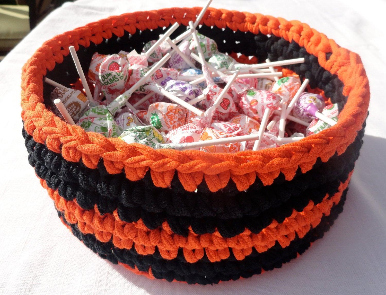 Halloween Treat Basket in Orange and Black Stripes