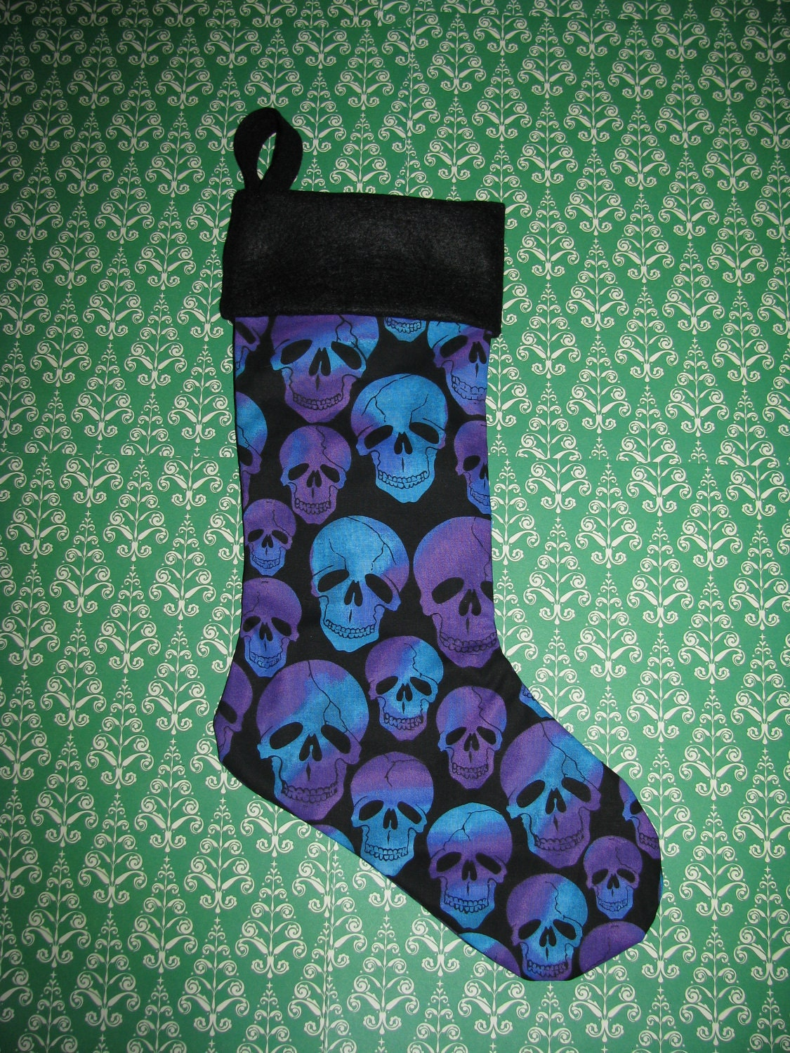 PURPLE BLUE SKULL Christmas stocking