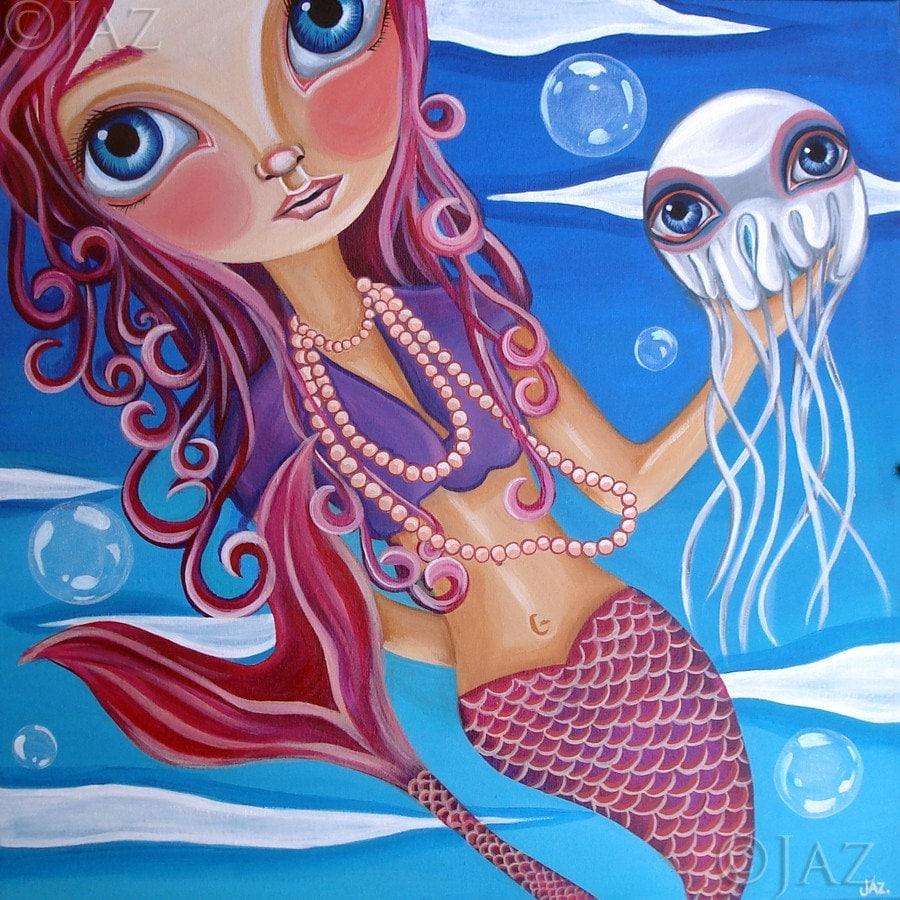ART PRINT - A Jellyfish Friend - by Jaz - 8x8