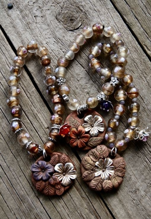 Three Earthen Clay Floral Paradise Beaded Bracelets with Glass Beads Lot