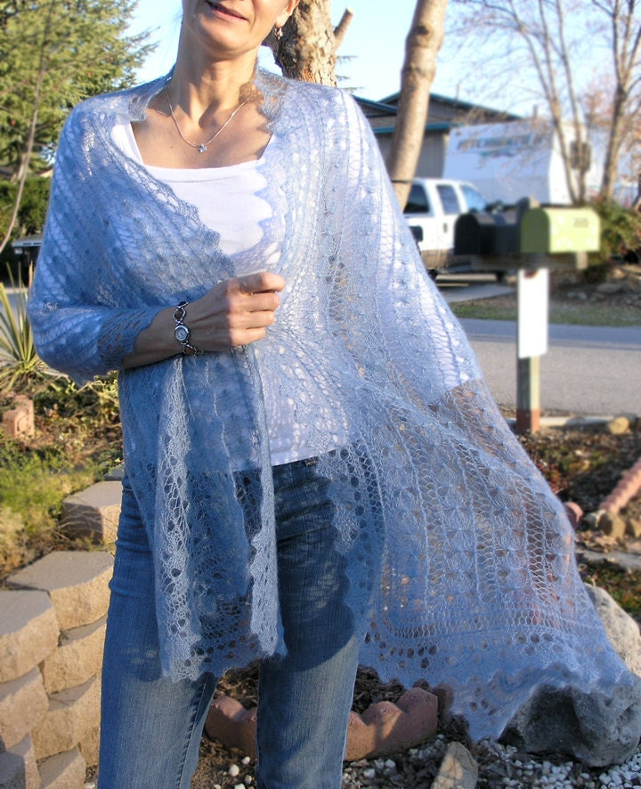 Victorian lace shawl hand knitted in a dusty blue mohair silk blend